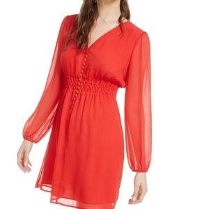 bar III v-neck long sleeve mini fit & flare dress